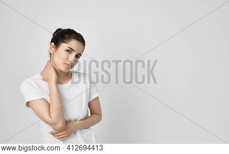 Woman Holding Neck Health Problems Discomfort Medicine Treatment