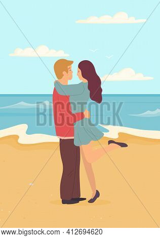 Guy And Girl Hugging Each Other On Coastline. Young Couple In Relationship Has Date On Seashore