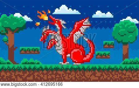 Pixelated Red Dinosaur With Wings Breathes Fire In Nature Landscape At Night. Art App Pixel-game