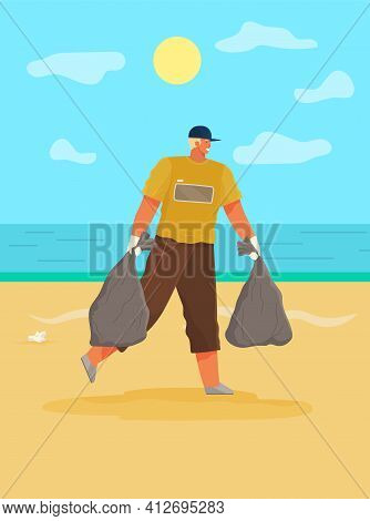Man Is Removing Paper Waste On Coastline. Guy Collects Garbage On Contaminated Area Of Beach