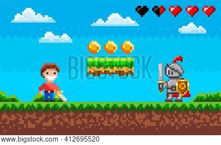Brave Man With Steel Sword Fighting Against Pixel Knight. Enemy Attacks Human In Pixel-game Scene