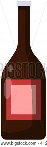 Alcohol, Beverage Made From Fermented Grapes. Bottle Of Red Wine. Dry Grape Alcoholic Drink