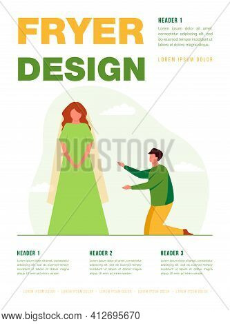 Man On His Knees At Girl Wearing Wedding Dress. Bride, Worship, Tailor, Groom. Flat Vector Illustrat