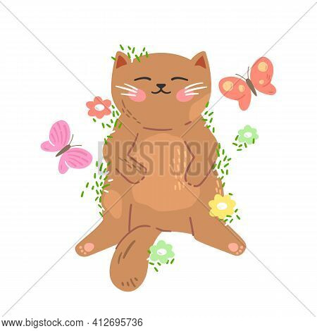Cute Little Red Kitten Sleeps On The Grass With Butterflies And Flowers Around.