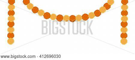 Elegant Yellow Indian Vector Marigold Flowers Garland. Gorgeous Orange Floral Decoration With Lush P