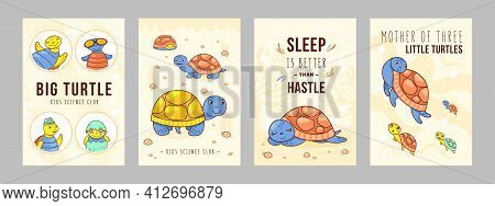 Stylish Poster Designs With Happy Turtle. Vivid Brochures With Sea Turtle For Kids Club On Bright Ba