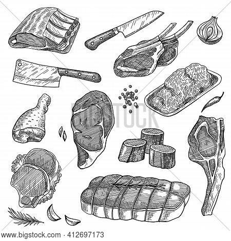 Ground Meat, Beef Steak, Pork Ribs, Sirloin, Turkey Leg, Knives Set. Food Products Vector Illustrati