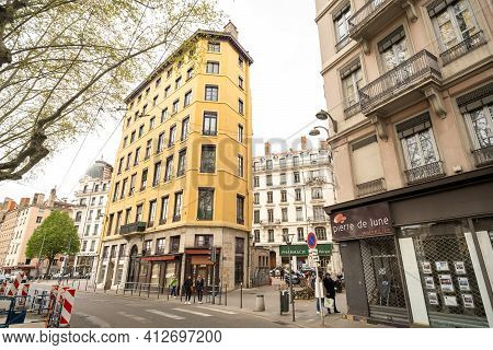 Lyon, France, April 7, 2019: Famous People From Lyon Wall Painting. This Mural Represents More Than
