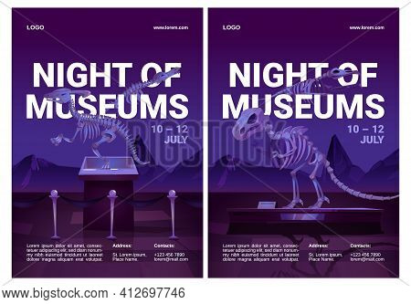Night Of Museums Flyers With Dinosaur Skeletons