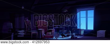 House Attic With Old Furniture At Night
