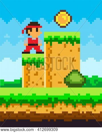 Pixel-game Ninja Male Brave Character. Pixelated Natural Landscape With Warrior Standing Near Coin