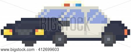 Police Car With Flashing Lights. Pixel Ransport For Chasing Criminals. Fast Black And White Vehicle