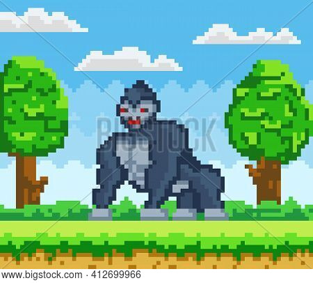 Vector Pixelated Gorilla Cartoon Pixel Design Wild Animal In Natural Landscape With Green Trees