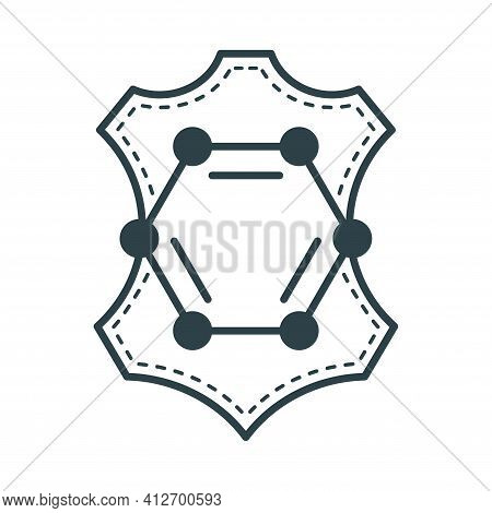 Artificial Pu Leather Icon - Flat Emblem With Animal Skin And Polyurethane Molecule. Vector Badge
