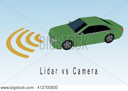 3d Illustration Of Lidar Vs Camera Title Under An Autonomous Car With Symbolic Waves Pattern, Isolat