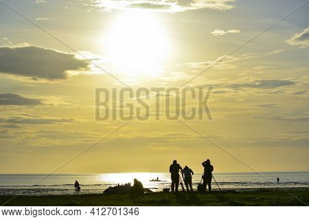 Sunset At The Beach, Kota Kinabalu, Borneo,sabah, Malaysia