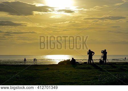 Sunset At The Beach Kota Kinabalu Borneo,sabah Malaysia