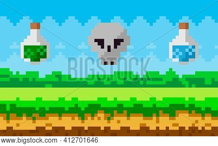 Pixel-game Scene With Grass Meadow, Skull And Flasks With Magic Liquid Soar In Sky, Pixelated Object