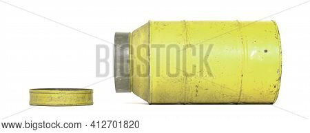 Old Nostalgic Can Isolated On White - Yellow Can