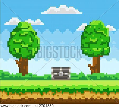 Pixel-game Background With Chest In Sky. Pixel Art Scene With Green Grass Platform And Tall Trees