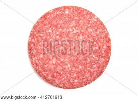 Slice Of Smoked Sausage Salami, Isolated On White