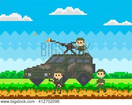 Soldiers In Uniform Near Combat Camouflage Transport For Pixel Game Design In Nature Landscape