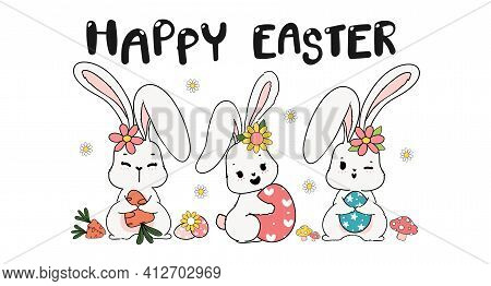 Three Triple Spring Easter Bunny Rabbit With Easter Egg, Carrot And Flower, Cute Doodle Cartoon Draw
