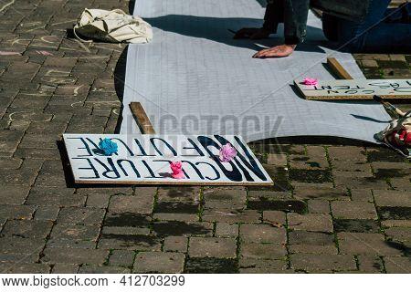 Reims France March 15, 2021 Demonstration In Front Of La Comédie De Reims, A Cultural Establishment