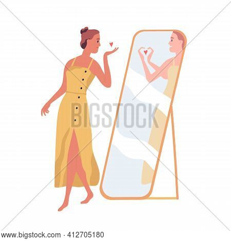 Happy Beautiful Woman Sending Air Kiss To Her Mirror Reflection. Self-love And Acceptance Concept. P