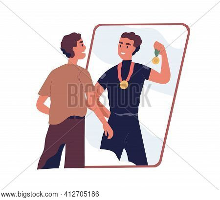 Ordinary Man Looking At Fake Mirror Reflection And Dreaming To Be Successful Strong Athlete And Spor