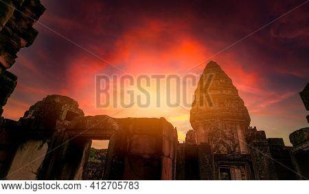 Landscape Of Phimai Historical Park With Sunset Sky. Landmark Of Nakhon Ratchasima, Thailand. Travel