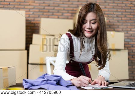Young Girl Boutique Owner, Clothing Store, Young Owner Startup Entrepreneur. Creative Girl Textile G