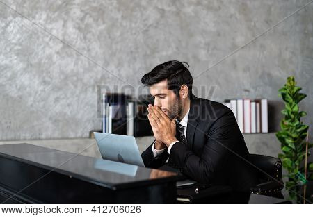 Manager Work From Home Stressed Overwhelmed Working On Computer, Suffering From Eyes Fatigue Or Havi