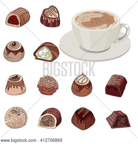 Set With Different Chocolate Sweets And Cup Of Coffee. Objects Isolated On White Background. Illustr