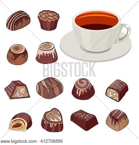 Set With Different Chocolate Sweets And Cup Of Tea. Objects Isolated On White Background. Illustrati