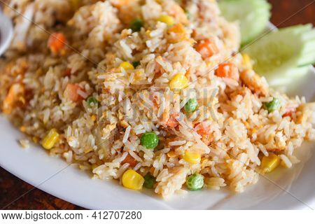 Fried Rice On Plate Menu Asia Chinese China And Thai Food Cuisine, Egg And Vegetable Fried Rice Heal