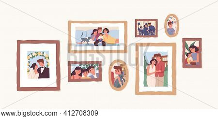 Set Of Family Photo Portraits In Frames. Memorable Pictures Of Happy Parents And Children At Importa