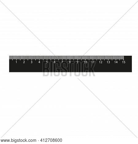 The Measuring Tool Is A Black Isolated Ruler With A Scale In Centimeters. Stationery. Vector Illustr