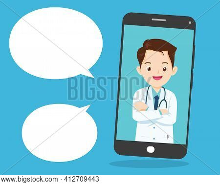 Modern Medicine And Healthcare System Support.smartphone With Male Doctor On Call Holding Meds.onlin