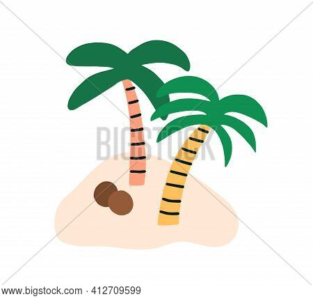 Sandy Island With Two Coconut Palm Trees And Fallen Ripe Coco Nuts. Simple Tropical Cocopalms. Exoti