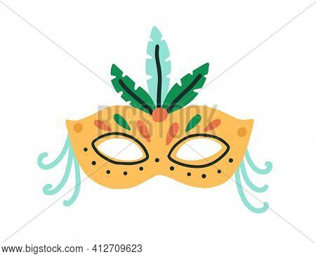 Bright Brazil Carnival Mask Decorated With Feathers. Ornate Accessory For Brazilian Or Venetian Masq