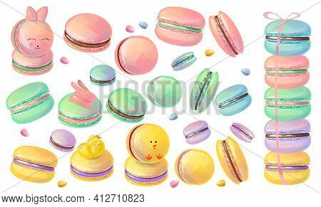 Set With Different Spring Easter Macaroons. Illustration For Cafe Menu