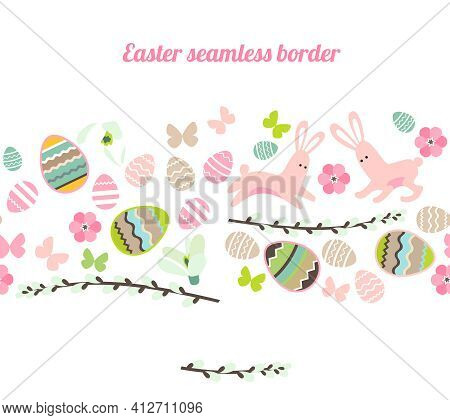 Endless Horizontal Border With Festive Painted Eggs, Stylized Flowers And Pretty Rabbits. Endless Bo