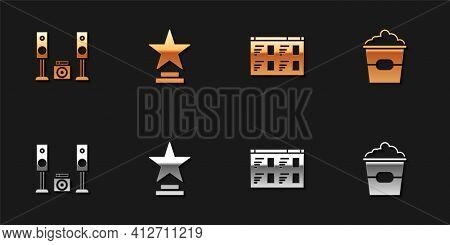 Set Home Stereo With Two Speakers, Movie Trophy, Online Play Video And Popcorn Box Icon. Vector