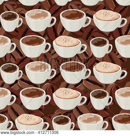 Seamless Pattern With Cups Of Coffee And Coffee Beans. Endless Dark Brown Texture For Your Design.