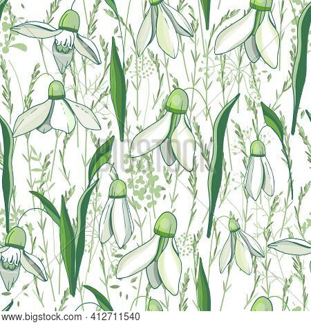 Seamless Pattern With Different Cute Flowers, Snowdrops, And Herbs. Endless Texture For Romantic Des