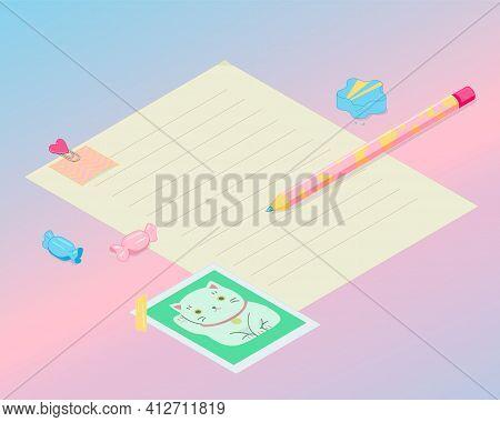 Kawaii Fun Isometry Girly Retro Pastel School Stationery