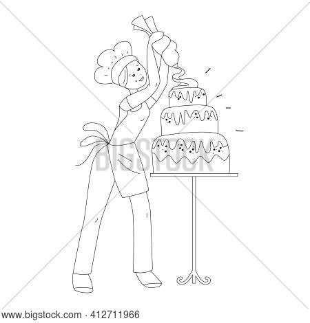 Young Female Baker Decorating Birthday Cake. Standing With Palette And Paints. Profession Confection