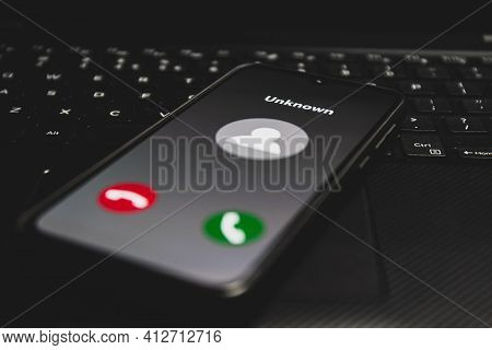 Incoming Call From Unknown Number. Scam Online On Phone