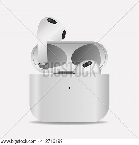 Newly Apple Airpods 3 White Color Isolated On White Background. Wireless Headphones And Case